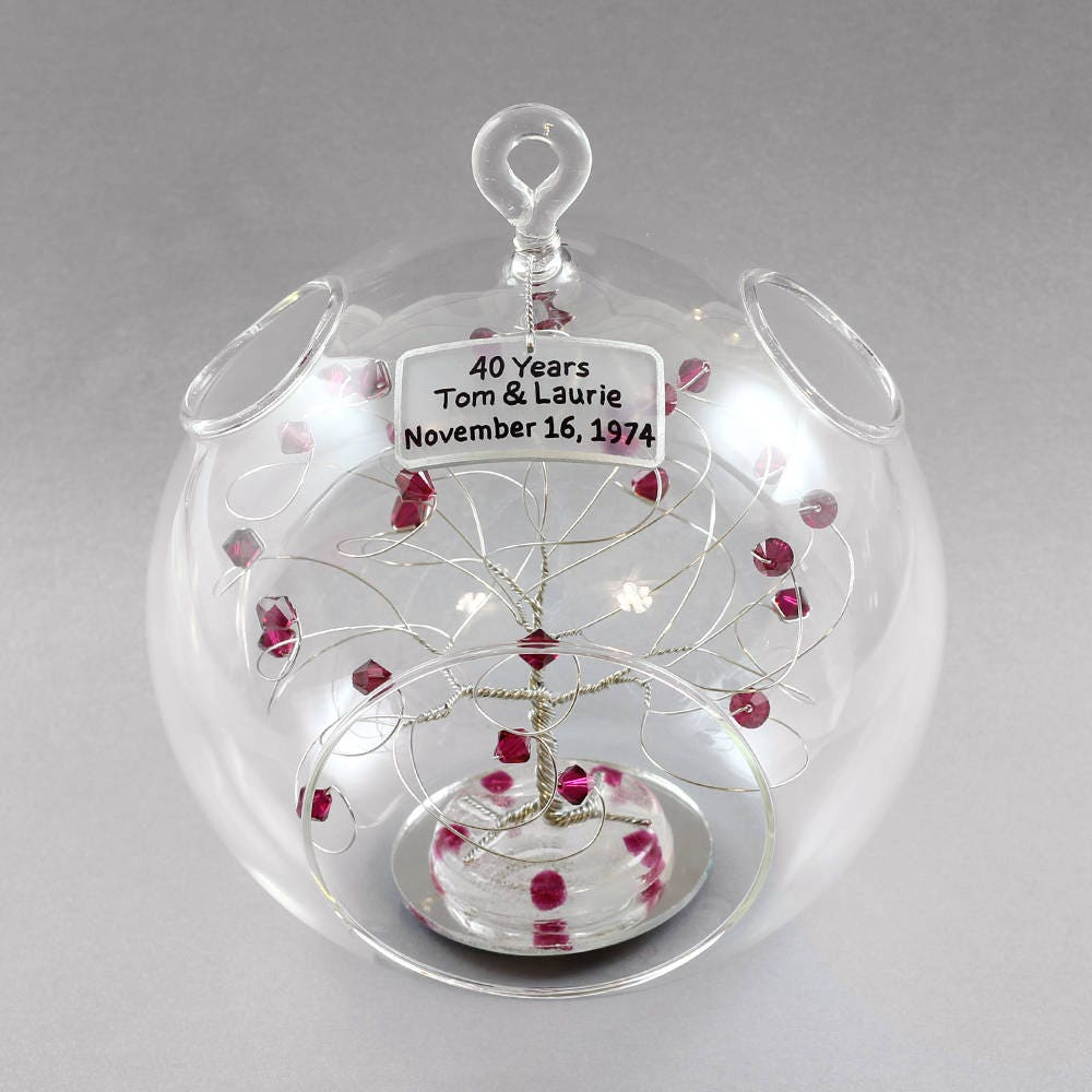 Gift Ideas 40th Wedding Anniversary: 40th Anniversary Gift Personalized Ornament Ruby Anniversary