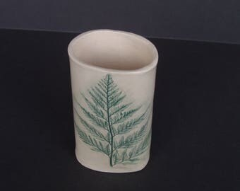 handmade ceramic vase . fern impression . hand-built pottery vessel