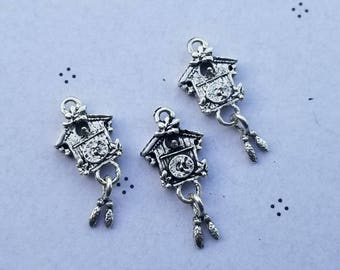 Antique Silver Clock Charms (3)