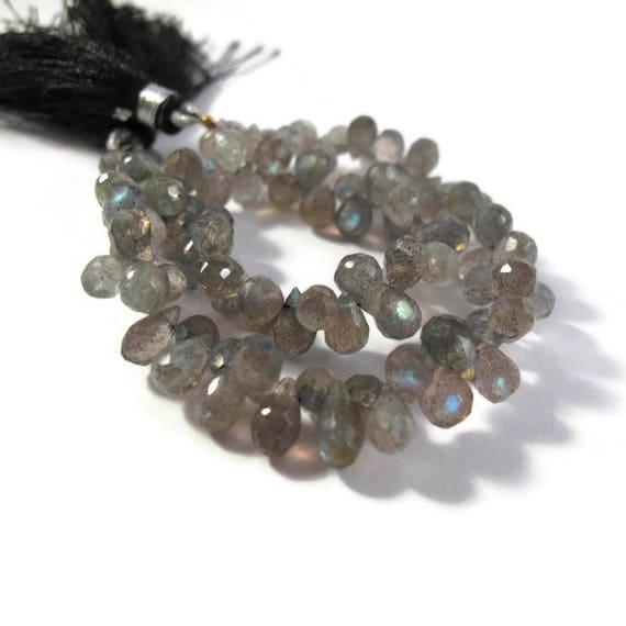 Natural Labradorite Beads, Tiny Gemstone Briolettes, 8 Inch Strand, Natural Labradorite 6.5mm x 4mm - 7mm x 5mm (B-Lab3a)