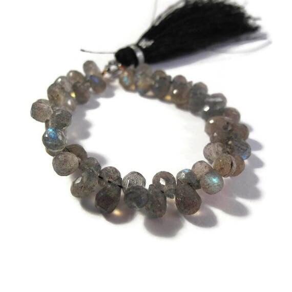 Natural Labradorite Beads, Tiny Gemstone Briolettes, 4.5 Inch Strand, Natural Labradorite 6mm x 4mm - 8mm x 5mm (B-Lab3b)
