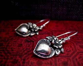 Frida Khalo Milagros Earrings-Romantic Love Sterling silver Heart Earrings-Floral Blooming heart Earrings-Mexican Folk-ex votos earrings