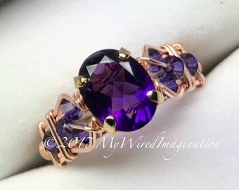 AAA Royal Amethyst Wire Wrapped Ring, Dark Purple, Ultra-Violet Purple, Unique Engagement Anniversary Birthstone Ring, February Birthstone