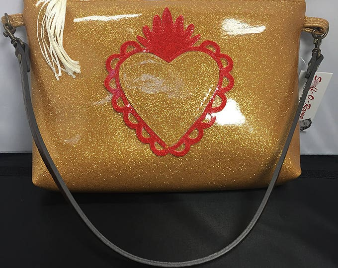 Clutch Purse - Gold Glitter Vinyl Sacred Heart (Small)