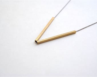 Skinny Bars Geometric Jewelry. Brass Sticks. Minimal Modern Long Black Chain. Bar Necklace For Men. Modern Simple Jewelry for Cool Woman.