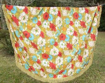 "Floral Oval Tablecloth - 52"" x 76"" - vintage tablecloth - gold fringe - red"