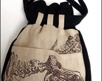 Bag of Bones - One of a Kind Purse by Kambriel - Skeleton Canvas and Black Wool, Lined in Brocade - Brand New & Ready to Ship!