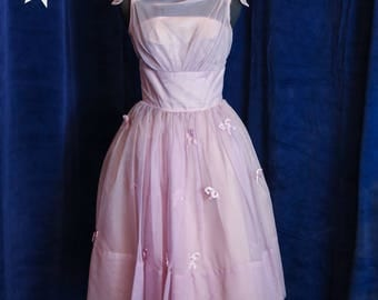 Vintage 1950s Lavender Bows and Pearls Sheer Party Dress - X Small