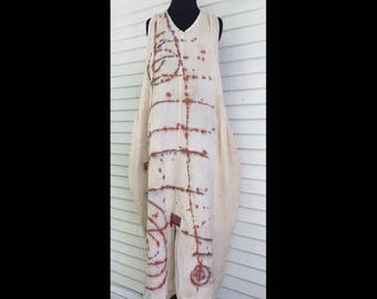 Alchemy Dress, One Size fits S-XL,  long cotton sundress, tea stained, hand painted, OOAK, wearable art, loose racerback summer cotton dress