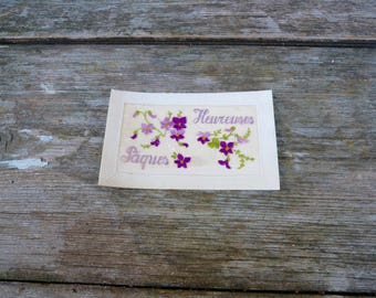Vintage Antique 1900/1910 French  postcard  hand embroidered organdi fabric Violettes  Amitié /Friendship