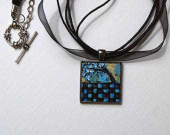 Checkered Art Necklace , FREE Shipping, Alice and Wonderland, Art, Original Painting, Pendant , Wearable Art, Tree Necklace, Pendant