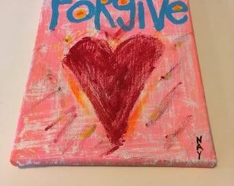 Word Art Heart Painting Forgive Original Canvas Quote - Nayarts