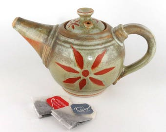 Stoneware Teapot - 24 oz.  - Pottery teapot - Ceramic teapot - Perfect for Serving Tea - Sage Green Teapot with Sunburst -