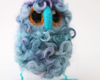 Owl Baby Blue Needle Felted Limited edition Owl Baby in Hand Dyed Teeswater Locks