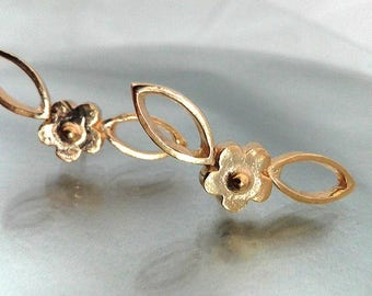 Ear Studs Gold, Earrings Gold Plated, Ear Posts Gold, Gold Stud Earrings, Three Dimension Earrings, Flower Stud Earrings, Leaf Ear Posts