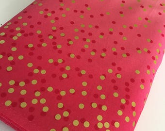 Ombre Confetti fabric by Vanessa Christenson, Gold Metallic Decor, Wedding fabric, Quilting, Ombre Confetti in Hot Pink, Choose The Cut