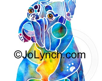 Boxer Blues Print of Watercolor Painting - Boxer Dog Art Prints - Boxer Dog Gifts - Artist JoLynch