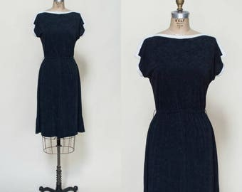 1970s Black Terrycloth Dress --- Small Vintage Dress