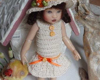 Crochet outfit Helen Kish Riley Betsy McCall Doll 7 8 inch Dress Drop Waist WIde Brim Hat  Ecru Orange Rose Pearl