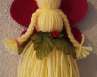 "Handmade collectible yarn doll ""Rosy"""