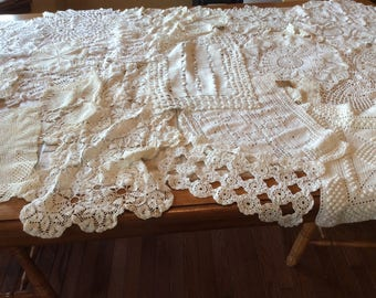 Crochet Doilies Runners  Vintage Linen Lot Value Bundle of 23 Assorted Sizes and Styles All in White and Off White - B114