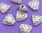 6 Triangle Beads,  Floral Heart Design, Antique Silver Tone, About 9mm x 10mm with a 1.6mm hole - TS442B