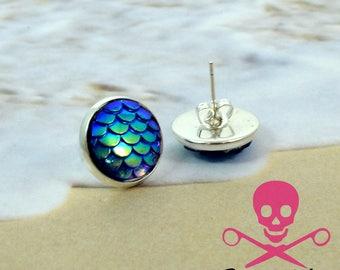 BLUE MERMAID - Silver plated Scale Stud Earrings