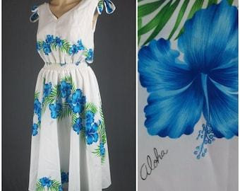 vintage hawaiian 70s dress sundress hibiscus floral sun white blue swing twirl dance skirt midi flowers medium med m tie shoulder