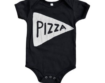 NEW Black Pizza Baby Bodysuit, black christmas stocking stuffer, new dad gift, husband gift, newborn onesie baby clothes, pregnant mom gifts