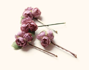 Mauve rose bobby pins, Small purple bobby pin flowers, Flower hair clips, Bridal accessory, floral bobbies - set of 4