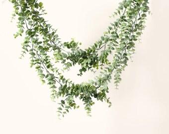 Faux eucalyptus garland, Double swag, Artificial leaves, White ribbon ties, Hanging plastic leaves, Mantle decor, Eucalyptus wedding decor