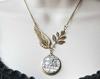 Steampunk watch necklace, angel wing necklace, brass wing pendant, Unique Statement Jewelry, Vintage Watch Parts
