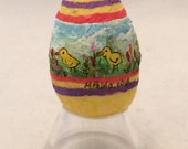 Spun Cotton Painted Egg with ducklings feather tree ornament by Maria Paula