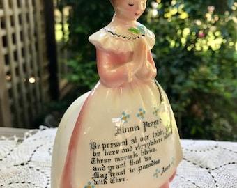 Vintage Enesco Prayer Girl Napkin Holder