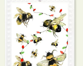 Bee Christmas Ornament Woodland Decoration Bumble Honey