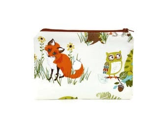 CHOOSE SIZE Woodland Hideaway Zipper Pouch / Fox and Deer Camera Bag on Cream / Owl Raccoon Make Up or Coin Pouch