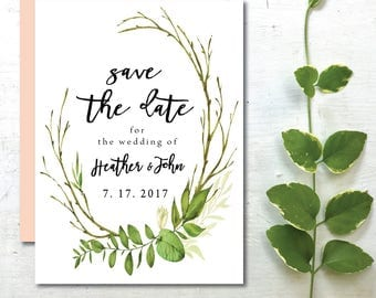 Green Save the Date | Greenery Save the Date  | Save the Date Card | Printable Save the Date | Green Leaves | Watercolor Floral Wreath
