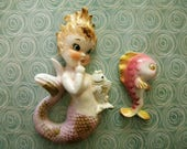 Vintage Mermaid Wall Hanging Mid Century Pink and Gold with Bonus Fish