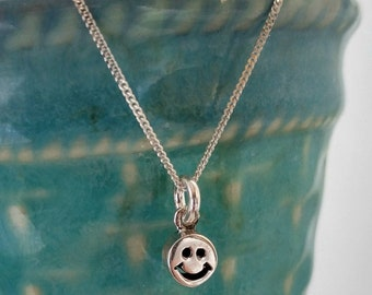 Happy Face Emoji Necklace, Sterling Silver, Smile Pendant, mood boosting inspirational jewelry BFF necklace