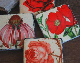 Red and Pink Floral coasters - stone  coasters, Mother's Day gift, gift for her, floral