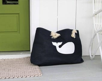 Canvas Beach Bag - Whale Tote Bag - Whale Beach Bag - Summer Outdoors - Beach Bag - Large Beach Bag - Waterproof Beach Bag