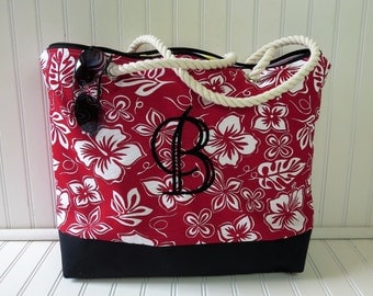 Beach Bag Personalized - Floral Tote Bag - Summer Beach Bags - Monogram Beach Bag - Zippered Beach Tote - Large Beach Bag