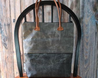 Canvas Tote Bag - Canvas Bag - Waxed Canvas Tote - Leather Tote - Tote Bag Canvas - Tote Bag With Pockets - Tote Bag for Women