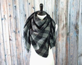 Blanket Scarf-Buffalo Plaid Blanket Scarf -Clothing Gift-Plaid Blanket Scarf - Gifts for Her -  Blanket Scarf - Blanket Scarf Black