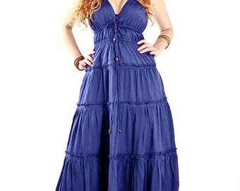 Long Maxi Blue Dress, Heavenly Beautiful and so Comfortable, summer dress, last one