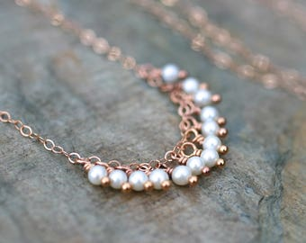 Rose Gold White Pearl Necklace, 14KT Rose Gold Filled Necklace, White Freshwater Pearl Fringe Charm Necklace, Pearl Necklace, Pink and White