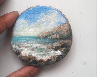 "Mini Oil Painting Rocky Beach on Wood Slice 2"" READY TO SHIP"