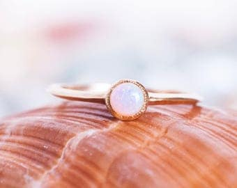 14k Opal Knife Edge Ring | 14k Gold and Australian Opal