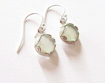 Green Prehnite Gemstone Drop Earrings in Sterling Silver Flower Leaf and Vine Bezel