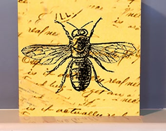 "4"" x 4"" Tiny Wood Block.  Sweet Queen Bee.  Wall Art.  Wooden box. Gardener Gift.  Nature lover."